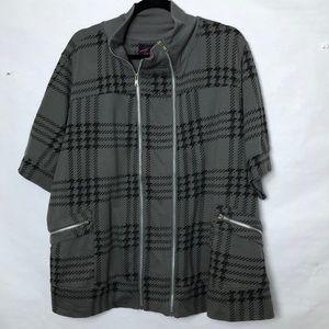 Torrid houndstooth plaid double zip  sweatshirt